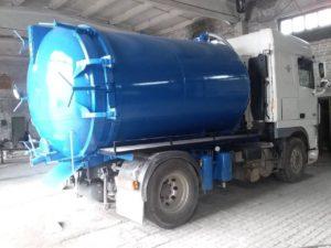 Белая кабина Синяя бочка ассенизатор